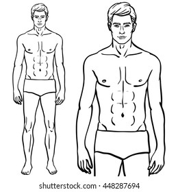 Fit fashion model man isolated vector illustration in EPS 8 format. Athletic male body template.