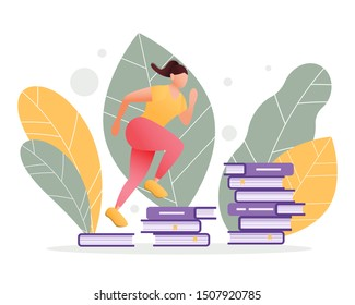 Fit female running on stacks of books forming steps of a ladder. Reading, self-development and education concept. Brain and mental workout. Modern flat illustration.
