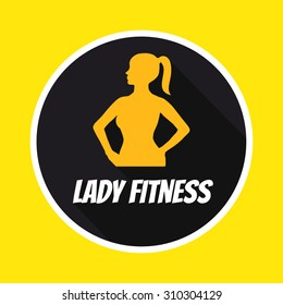 Fit girl silhouette. Ladies fitness club logo. Flat design logotype. Logotype for ladies fitness club. Trendy flat design logo with long shadow. Yellow woman silhouette on black background