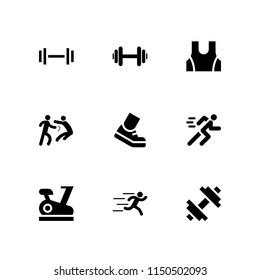 fit icon. 9 fit set with weightlifting, stationary bike, sport wear and runer silhouette running fast vector icons for web and mobile app