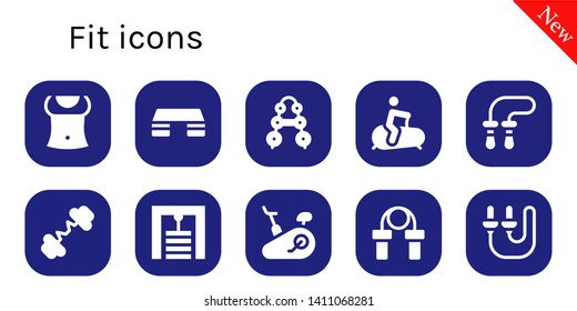 fit icon set. 10 filled fit icons.  Simple modern icons about  - Abs, Fitness step, Barbell, Stationary bike, Jumping rope, Gym station, Skip rope