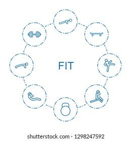 fit icons. Trendy 8 fit icons. Contain icons such as push up, kettle, skating, barbell, man doing exercises, abdoninal workout. fit icon for web and mobile.