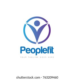 Fit people logo, icon, symbol design template