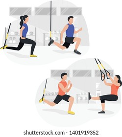 Fit people working out on trx doing bodyweight exercises. Fitness strength training workout.