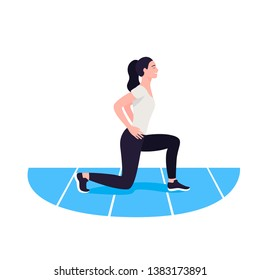 Fit woman exercising. Warmup. Girl do sports, workout.