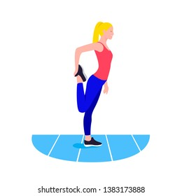 Fit woman stretching. Warmup. Girl do sports, workout.
