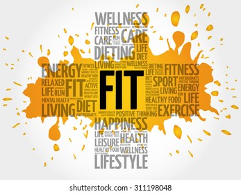 FIT word cloud, health cross concept
