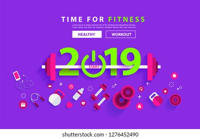 Fitness 2019 new year concept workout typography alphabet design with equipment. Vector illustration flat modern layout template