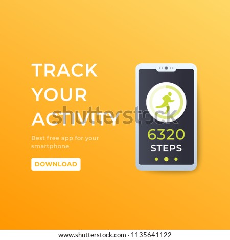 Fitness App Activity Tracker Smartphone Pedometer Stock Vector
