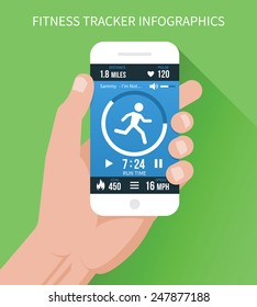 Fitness app with a lot of features on a mobile phone in hand on a green background. Vector illustration