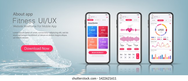Fitness app material design with flat ui web screens. Template ready application UI, UX, KIT elements. Data analysis, choice of training program. Workout and statistics features and responsive website