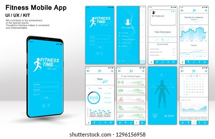 Fitness App Screens, Template ready application UI / UX / KIT . Mock up Mobile app. Entry menu, data analysis, choice of training program. Fitness interface design for mobile application