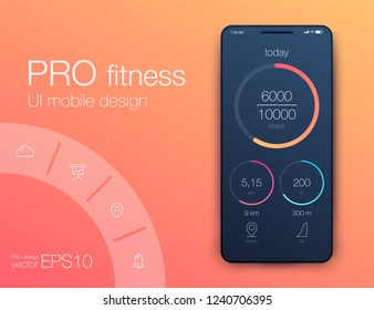 Fitness app. Ui ux design. UI design concept with web elements of workout application for mobile