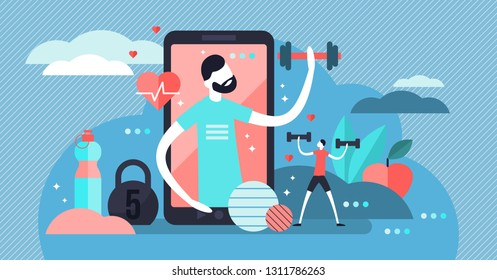 Fitness app vector illustration. Flat tiny virtual sports person concept. Healthy exercise without gym. Personal training with modern mobile technology. Workout application with heart pulse and couch.