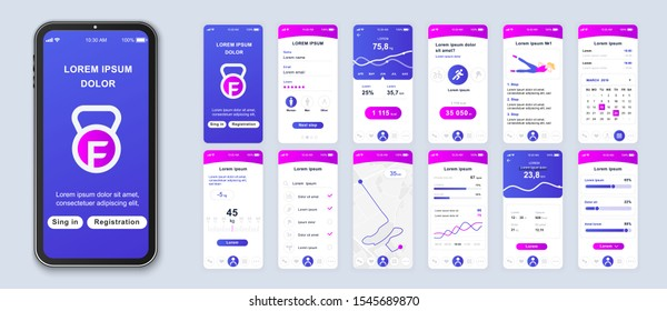 Fitness application smartphone interface vector templates set. Web design UI kit. Workout dashboard. Mobile web page modern design layout. Pack of UX, GUI screens for apps. Phone display