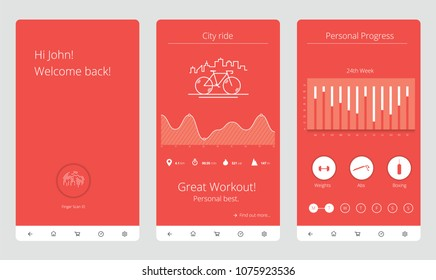 Fitness Application Smartphone UI UX Vector Illustration
