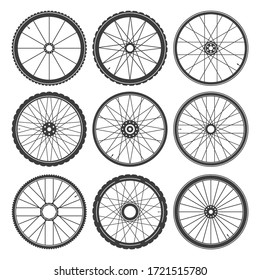 Fitness bicycle wheels. Bike wheel with tire and spokes set vector image, spoked bicycles cycling rubber icons, aluminum wheeling activity objects