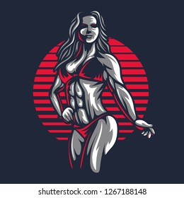 Fitness bikini woman or girl figure silhouette in old engraving vector art illustration or retro vintage emblem stamp isolated on black background Great for sport club logo sign or tshirt design