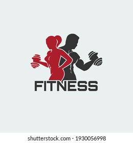 Fitness and body building logo design template vector