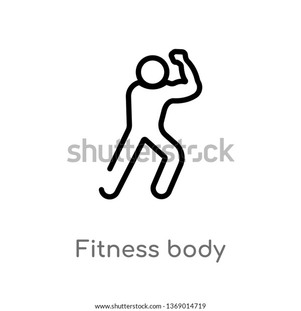 Fitness Body Vector Line Icon Simple Stock Vector Royalty Free 1369014719