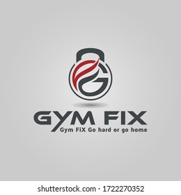 Fitness and bodybuilding logo letter GF vector design