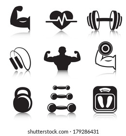 Fitness bodybuilding sport icons set of strength and slimness training exercises isolated vector illustration