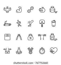 Fitness and bodybuilding thin line icon set. Vector.