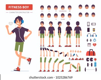 Fitness  boy  character constructor for animation. Front, side and back view. Flat  cartoon style vector illustration isolated on white background.