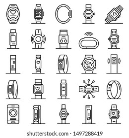 Fitness bracelet icons set. Outline set of fitness bracelet vector icons for web design isolated on white background