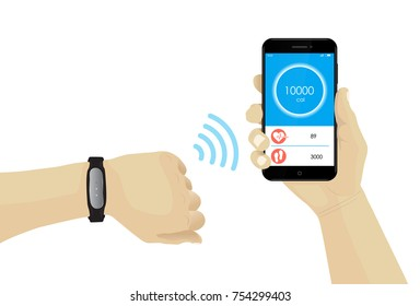 Fitness bracelet on hand with wifi smartphone infographic. Heart rate tracker. Rubber wristband. Watch monitor. Vector. Fitness Tracking. Mobile tracking. Steps, heartbeat, calories.