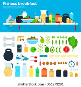 Fitness breakfast vector flat illustrations. Healthy food and fitness tools on the table. Healthy eating and diet concept. Water, fruits, vegetables, phone, running shoes and dumb-bells isolated