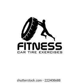 fitness car tire exercises vector design template