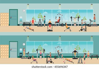 Fitness cardio exercise and equipment with people in fitness gym interior, healthy lifestyle,character Vector illustration.