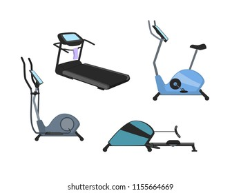 fitness cardio machines set, treadmill elliptical rowing bike trainers vector graphic set