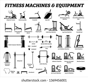 Fitness, cardio, and muscle building machines, equipments set at gym. Artworks depict a list of exercise workout tools, machines, and sports equipments in the gym room.