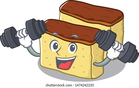 Fitness castella cake isolated in the cartoon