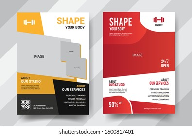 Fitness center flyer modern layout, cover design template A4 size with bodybuilder, zym Vector Illustration eps 10