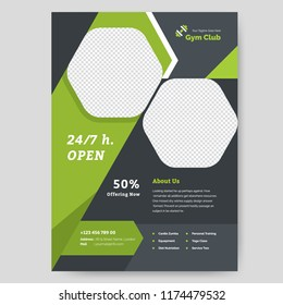 Fitness Center Flyer & Poster Cover Template. Fitness and Gym concept, Abstract Modern Design, Business brochure. Vector Illustration