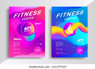 Fitness center flyer or poster template with modern gradient background. Vector