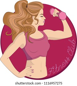 fitness center for girls. logo with a beautiful girl. functional training. pin-up style