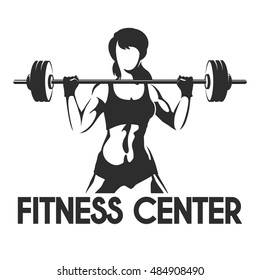 Fitness Center or Gym emblem. Sporty woman silhouette with barbell. Power lifting exercises concept. Vector illustration.