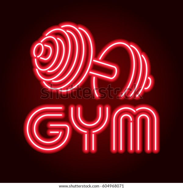 Fitness Center Gym Room Led Neon Stock Vector (Royalty Free) 604968071