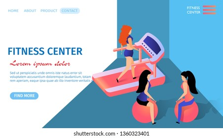 Fitness Center Horizontal Banner with Copy Space. Athletic Girls Training in Gym Sitting on Fitballs. Young Woman Jogging on Trademill. Exercising People. Health. 3d Flat Vector Isometric Illustration