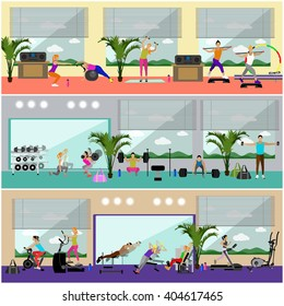 Fitness center interior vector illustration. People work out in gym horizontal banners. Sport activities concept. Yoga, fitness, gym.
