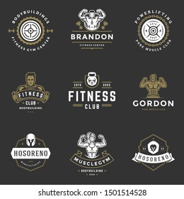 Fitness center and sport gym logos and badges design set vector illustration. Retro typographic labels with sport equipment signs and silhouettes.