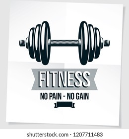Fitness center vector marketing banner composed using disc weight dumb-bell sport equipment. No pain no gain writing.