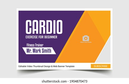 Fitness class thumbnail design for any videos. Editable gym exercise training video thumbnail and web banner template. Video cover photo template for social media