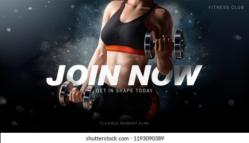 112792dd5e Fitness club ads with a healthy woman lifting weights on exploding powder  effect background