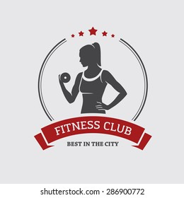 Fitness club banner or poster design with silhouette of athletic woman with dumbbell