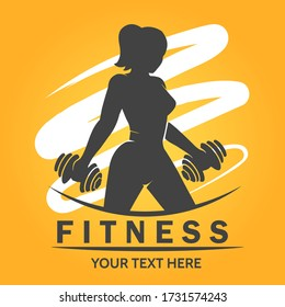 Fitness Club or Center Logo with silhouettte of woman lifting weights. Vector illustration.